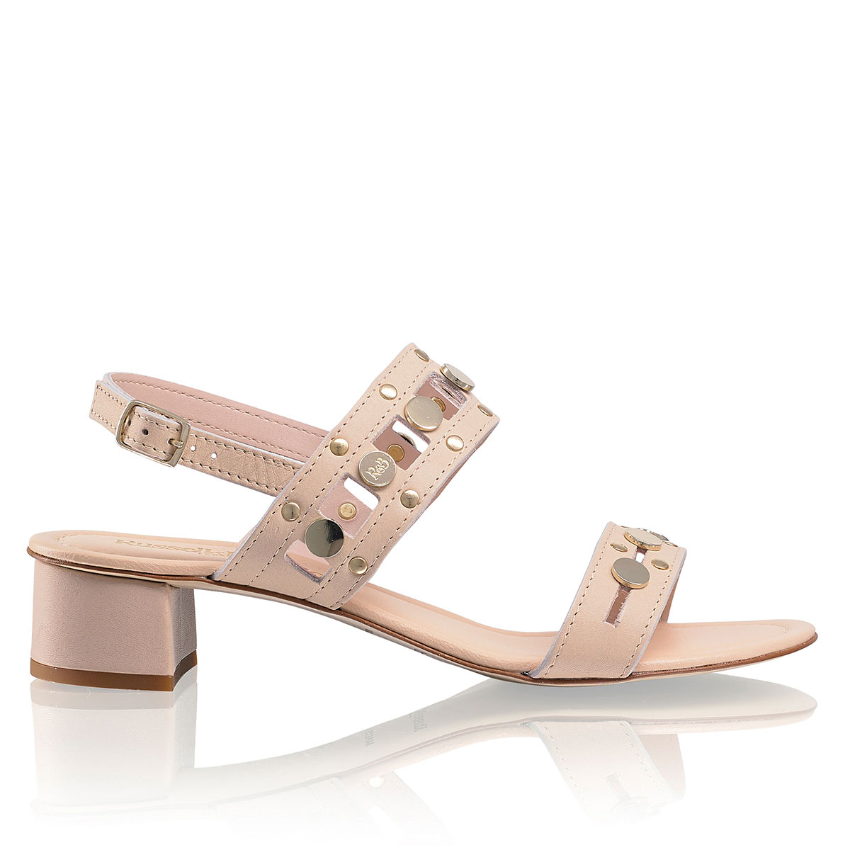 Russell And Bromley DOLLAR HI Block Heel Studded Sandal