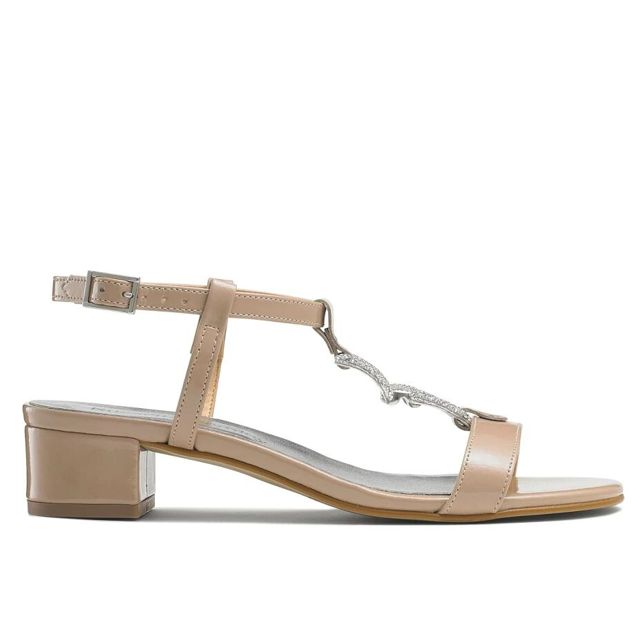 Russell And Bromley JEWELY Jewel Trim Block Sandal